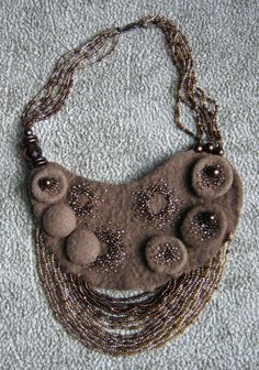 Felted and beaded necklace by Olga Levitskaya