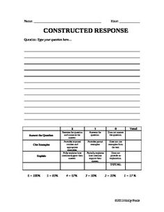 Printables Constructed Response Worksheets summary and rubrics on pinterest