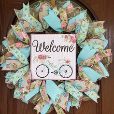 Beautiful welcome everyday wreath for your front door by Crafty Therapy by Lorraine. Wreath Supplies, Welcome Wreath, Deco Mesh Wreaths, Summer Wreath, Wreaths For Front Door, Porch Decorating, Home Accessories, House Warming, Burlap