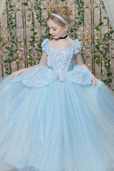 Cinderella Disney Inspired Princess Gown Tutu Costume Dress by Ella Dynae…