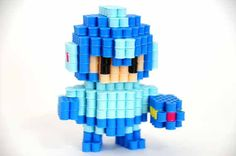3D Megaman Rockman perler beads figure by ToroKuro