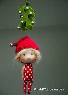 Meet Me Under The Mistletoe  ornament  tiny doll by mARTicreates