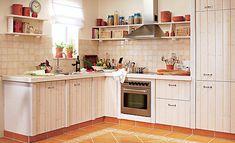 Eine Küche kann man auch aus Poren-Beton bauen. Bei unserem Modell im Landhausstil wurde der Rohbau aus dem Beton gebaut.