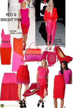 "If you had told me two years ago I would love red and bright pink…together, I would have said ""you're nuts! All Fashion, Pink Fashion, Colorful Fashion, Fashion Outfits, Bright Pink, Red And Pink, Pink Outfits, Cute Outfits, Matching Outfits"