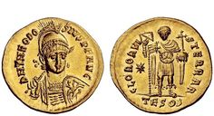 Theodosius II 402-450AD AV Solidus ND circa 424/30AD Thessalonika Mint