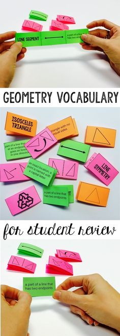 Geometry Vocabulary cards study strategy and games provide students with multiple exposures to geometry terms-includes ideas for creative and fun ways to play with these cards and increase vocabulary mastery! partners, independent, math stations, math wor