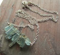 Natural aquamarine crystal necklace / rough by GretchenColeJewelry