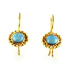 18K GOLD LARIMAR FRENCH EAR WIRES from New World Gems