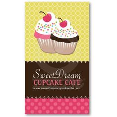 Customizable Cupcake Bakery Business Cards.