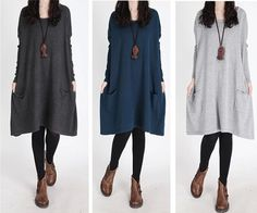 Hot sale Blue gray cotton sweater dress tea lengh by sexyclothing, $79.00