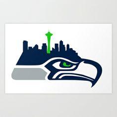 Seattle Seahawks Skyline Art Print by Ainslie Kellas - $14.56