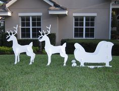 christmas outdoor santa sleigh and 2 reindeer set sleigh and reindeer set standard set includes 1 sleigh and 2 deer additional deer can be added to create - Santa Sleigh Outdoor Christmas Decorations