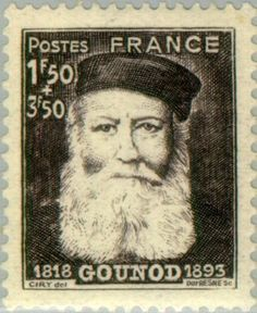 Sello: Charles Gounod (1818-1893) (Francia) (Famous composers) Yt:FR 601,Mi:FR 614,Sn:FR B174