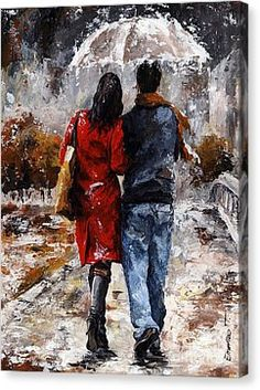 Rainy Day - Walking In The Rain Canvas Print by Emerico Imre Toth