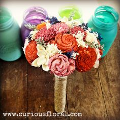 Image of Sola Flower Collection Bridal Bouquet- Bright Bouquet, Orange Pink, Bridesmaid Bouquet $87