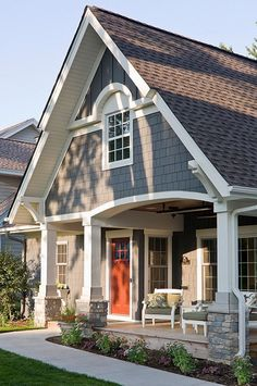 I like the front porch.  The front door ceiling could cover the window on the stairs, or the office.