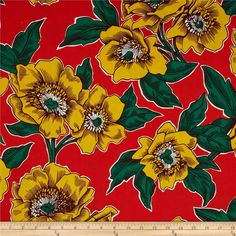 Folklorico Poppies de Potosi Large Flowers Red/Yellow from @fabricdotcom  Designed by DeLeon Design Group for Alexander Henry, this cotton print is perfect for quilting, apparel and home decor accents. Colors include white, green, brown, yellow and red.