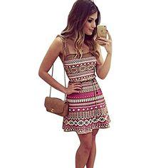 West See Frauen Sommer Minikleid Cocktaikleid Partykleid Schulterfrei Armellos Kleid (S, Mehrfarbig)