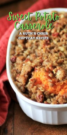 This Ruth's Chris Copycat Sweet Potato Casserole is delicious and so festive as a holiday side. Even kids who don't usually like sweet potatoes will love this. It features creamy sweet potaotes covered with a crunchy pecan topping that even veggie-haters will love!