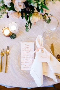 Romantic Preppy Place Setting with Calligraphy Menus and Hemstitch Napkins | Alisha Maria Photography | http://heyweddinglady.com/modern-indoor-garden-wedding-elegant-ballroom/