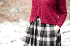 checkered burgundy sweater skirt personal style fashion