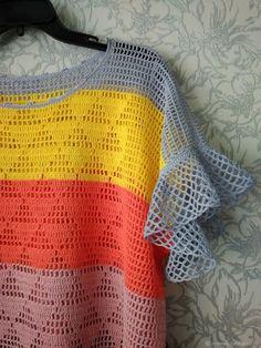 Crochet Cardigan Pattern, Crochet Shirt, Crochet Crop Top, Knit Or Crochet, Crochet Stitches, Crochet Patterns, Crochet Summer Tops, Crochet Girls, Crochet Fashion