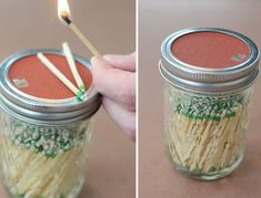 Mason Jar Crafts — Nobody likes to fiddle and fumble with a matchbox, so we're going to replace it with a mason jar and even incorporate a striker on the lid!   #crafts #masonjars via Put it in a Jar (putitinajar.com)