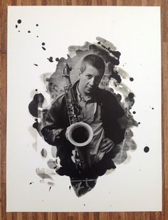 Portrait of the saxophonist Andy Sheppard. Selective printing using a paintbrush to splash and paint the developer onto the photographic paper.