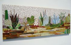 MADE-TO-ORDER wall art  This mosaic mural was recently sold here on Etsy. I created a few larger scale interpretations of this desert mosaic motif for Kaiser Hospital and am anxious to make more in this size range (2 x 5ft) If you would like to order your very own one of a kind cactus garden mosaic please contact me. Like all my work I never use a pattern but instead sketched out the general design and began using the glass itself to began forming the composition - not unlike the way a…