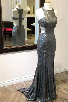 Unique Gray Sequin Mermaid Long Prom Dress, Gray Evening Dress
