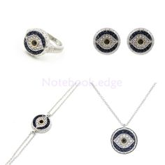 5Pcs Rhinestone Necklace Jewelry Set Classic Evil Eye Lucky Charms Decor