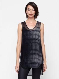 Rounded V-Neck Tunic in Oxidized Printed Silk + coated denim leggings