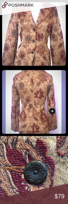 CaBi Designer Trench Jacket Size 8 Gold Cabi Sz 8 Women's Guinevere Jacobean Gold Red 3 Button Tapestry Coat new without tags. CAbi Jackets & Coats Trench Coats