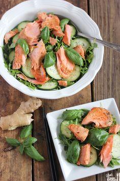 Thai Ginger Basil Arugula Salmon Salad