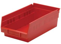 perfect for fastener storage Shelf Bins (QSB Series): Replace wornout corrugated bins permanently with these tough, durable, high density plastic bins. Shelf Bins, Shelves, Plastic Bins, Storage, Purse Storage, Shelving, Plastic Storage Tubs, Larger, Shelving Units