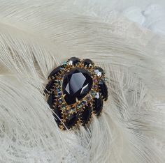 Vintage Jet Rhinestone Pin 50's Black Glam Brooch High