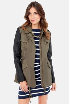 Far and Wild Black and Olive Green Safari Jacket $66 - LuLu's  http://www.lulus.com/products/far-and-wild-black-and-olive-green-safari-jacket/114098.html