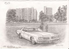 1973 Oldmobile Delta 88 Royale - drawings and paintings by Stephen Wiltshire MBE