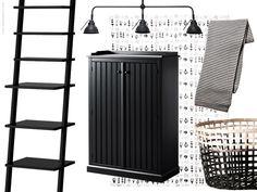 Kollage av nyheter med sensommartema smygstartar höstsäsongen. Det svarta sidobordet ARKELSTORP har en traditionell design i massiv furu och formgiven för att hålla hela livet.