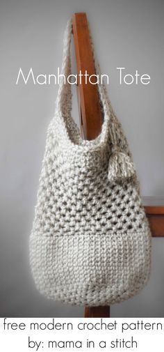 Manhattan Market Tote – Crochet Pattern this pattern makes a sturdy little #crochet market tote!  Modern and useful for farmers markets or just hanging out in town.