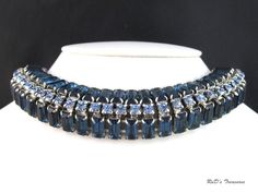 Vintage QUALITY Sapphire Blue Rhinestone Collar Choker Necklace Silver Tone