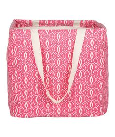 Loving this Pink & Ivory Strap Laundry Tote on #zulily! #zulilyfinds