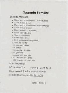 FELTRO MOLDES ARTESANATO EM GERAL: SAGRADA FAMILIA - CRÉDITOS NA FOTO