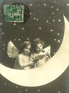 Wood Magnet Little Girls Angels Christmas Postcard Print Paper Moon 344 Vintage Children Photos, Vintage Pictures, Vintage Images, Vintage Girls, Vintage Style, Retro Vintage, Vintage Fashion, Paper Moon, Moon Pictures