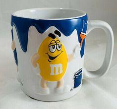 M/&M/'s World Yellow Stripes Ceramic Coffee Mug New
