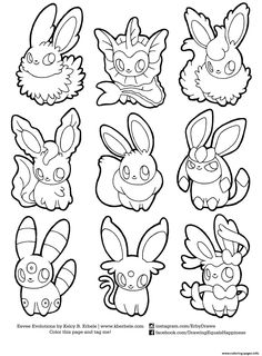 print pokemon eevee evolutions list coloring pages