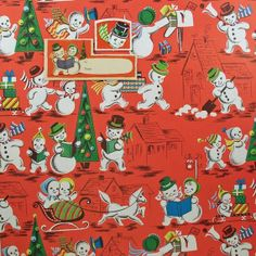 vintage snow people gift wrap