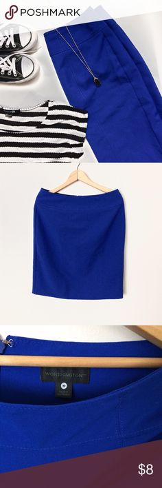 Cobalt blue knee length pencil skirt Tag says 10, but fits like a M (6/8). Great condition. Will model as time allows. Skirts Pencil