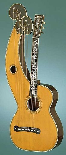Dyer Harp Guitar, I played one once at Lark in the Morning music shop in San Francisco. Guitar Inlay, Guitar Art, Music Guitar, Cool Guitar, Guitar Tips, Guitar Lessons, Morning Music, Best Guitar Players, Guitar Collection