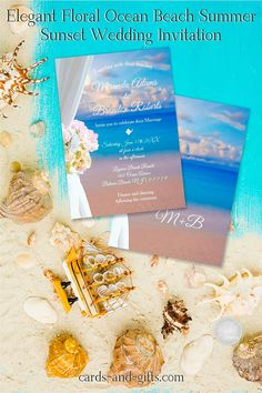 Our delightful Elegant Floral Ocean Beach Summer Sunset Wedding Invitation is perfect for any lake or ocean wedding. The feeling of freedom is indescribable. Your guests will be delighted and will be happy to come. You can personalize our beach wedding invitation incredibly quickly. You will be amazed. If you have design requests or you would like a custom-made product according to your ideas, please do not hesitate to contact me.
